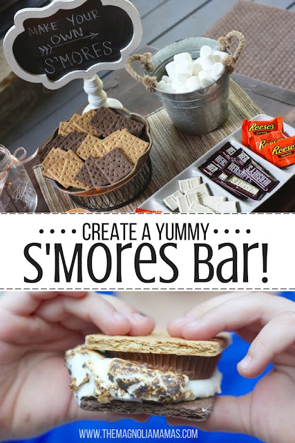 Celebrate Summer! Create this fun s'mores bar for your next pool party, campout, sleepover, or cookout. Such a fun summer dessert idea!