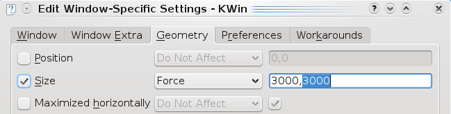 Edit Window Specific Settings Kwin