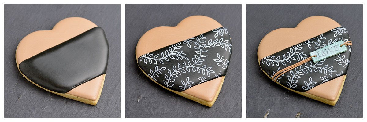 Three steps to adding chalkboard royal icing effect to Valentine's Day cookie, photo by Honeycat Cookies