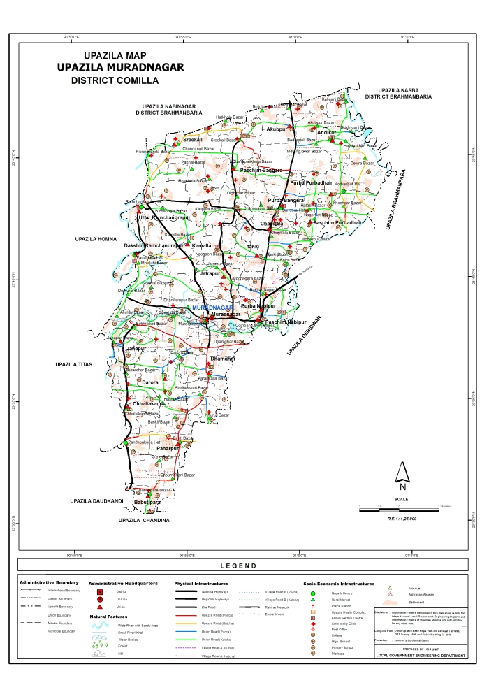 Muradnagar Upazila Map Comilla District Bangladesh
