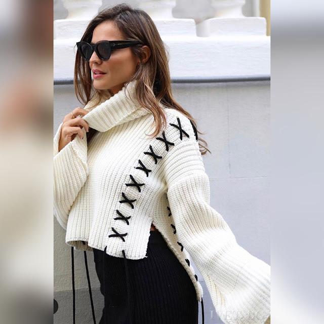 Ασύμμετρο γυναικείο άσπρο πουλόβερ STEMIRA