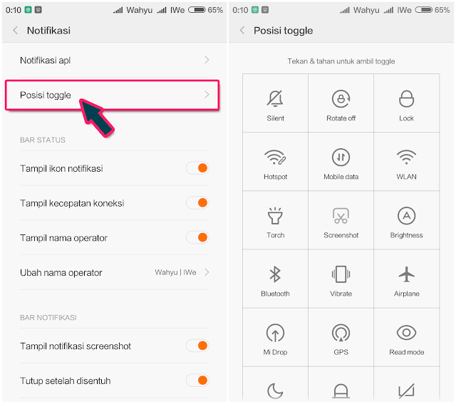 Cara Memindah Menu Toggle HP Xiaomi