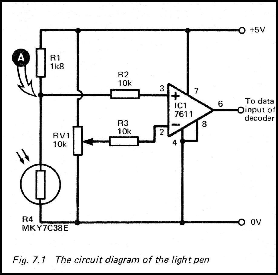 zx81 keyboard adventure  orginal light pen circuit from easy add on projects for spectrum, zx81 & ace