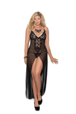 Long mesh gown features front slit-Plus