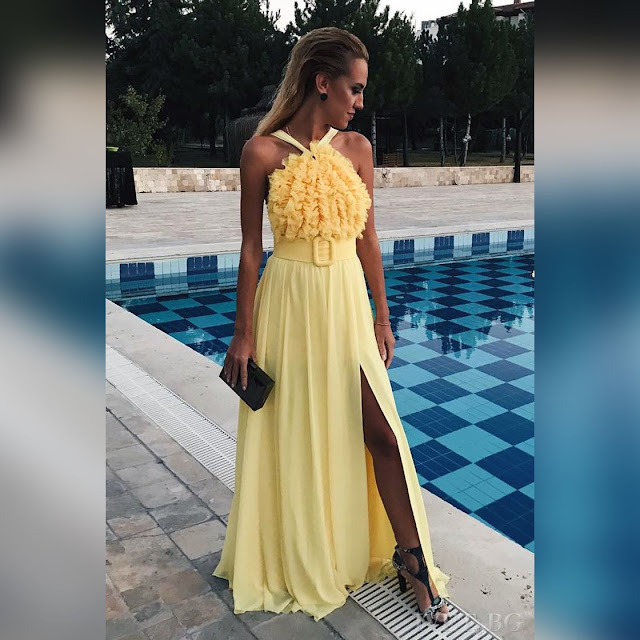 Αμάνικο μάξι κίτρινο φόρεμα LEMONA