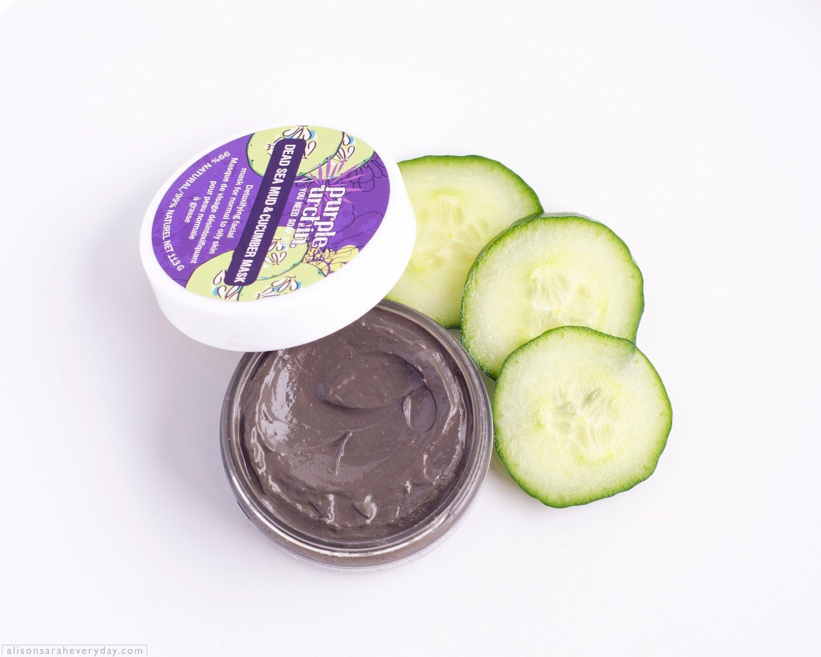 Purple Urchin Dead Sea Mud & Cucumber Mask with the lid beside the open product