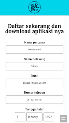 cara daftar dari Aplikasi OK Bisa