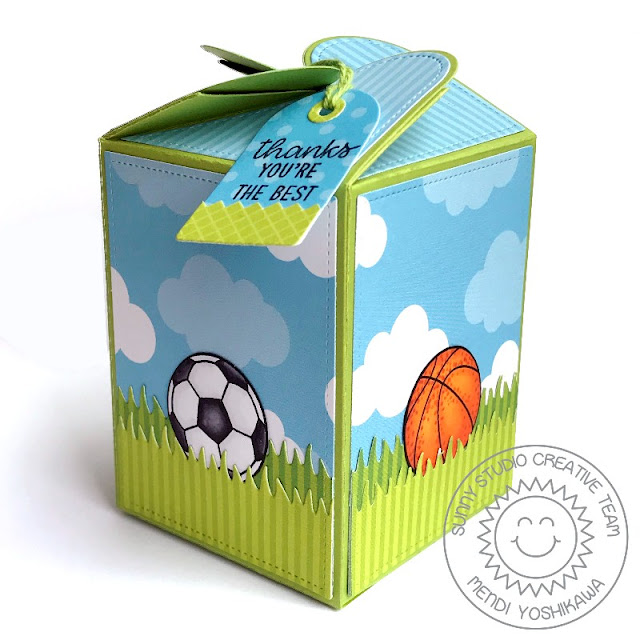 Sunny Studio Stamps Team Player Soccer & Basketball Gift Box (using Wrap Around Box Die, Summer Splash and Dots & Stripes Paper)