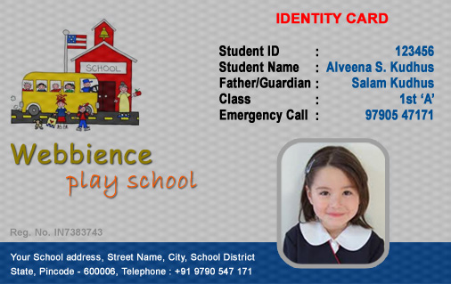 Coimbatore Today Kindergarten - Free ID Card Template - free id badge templates