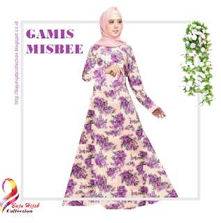 Gamis Misbee Peach Purple Motif Bunga