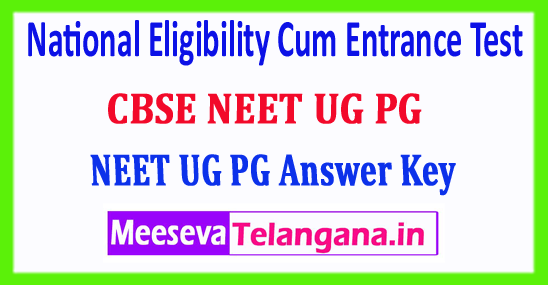 NEET 2018 PG UG Answer Key National Eligibility Cum Entrance Test 2018 Answer Key Download