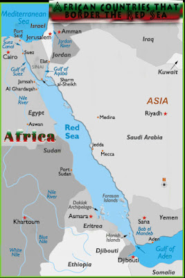 The Red Sea separates Africa from Asia; on the Western shore of the Red Sea are the African countries of Egypt, Sudan, Eritrea and Djibouti.