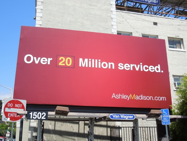 Ashley Madison Over 20 Million serviced billboard