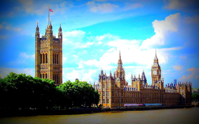 Sun shining on the Palace of Westminster
