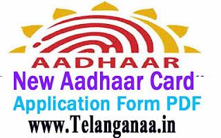 New Aadhaar Card Application Form PDF Free Download