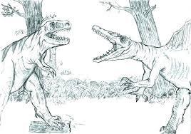 Dinosaur Spinosaurus VS T-REX Coloring Sheet