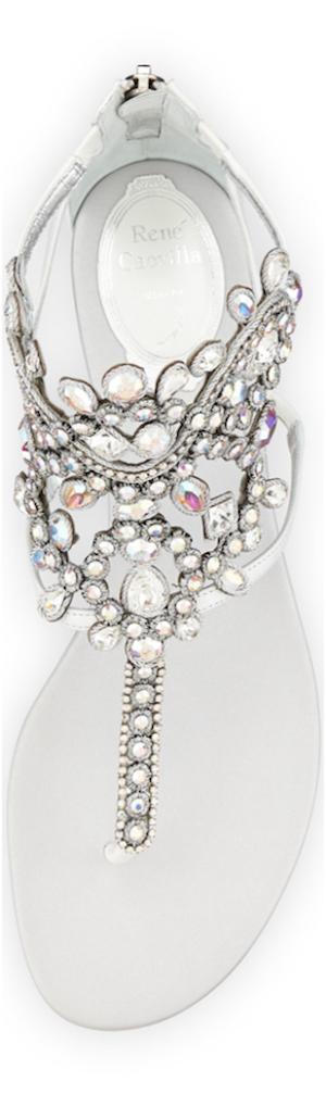 Rene Caovilla Crystal Chandelier Thong Sandal, White Iridescent