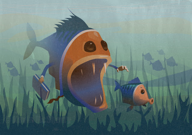 A digital vector illustration of a big fish about to devour a little fish. Survival of the Fishest!
