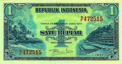 uang satu rupiah indonesia kertas