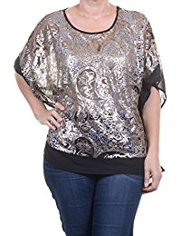 Buy Ellen Tracy Top, Batwing-sleeve Sequin Pon Black Combo T Shirt