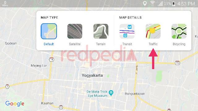 Melihat jalam macet langsung di google map