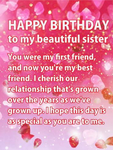 Happy Birthday. Hip hip, hooray! Your birthday has finally arrived, my sister.