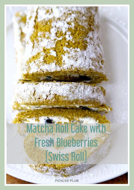 Matcha Cake with Fresh Blueberry