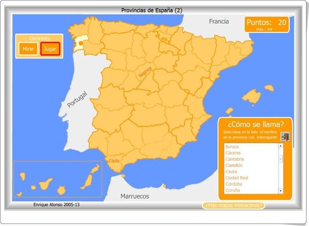 Provincias españolas Juego de Geografía de Primaria y Secundaria