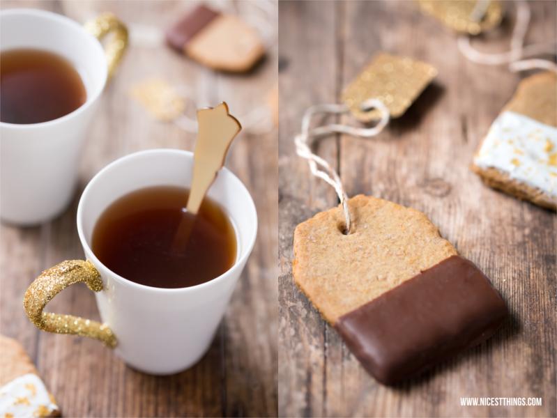 Glitzer-Tassen und Teebeutel-Kekse