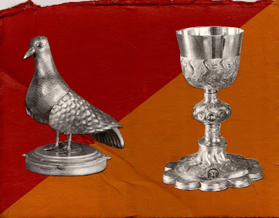 bird dove pigeon cup chalice of wine flag Dada Fluxus melancholy lies we tell ourselves