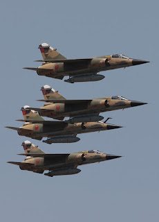 Four moroccan air force mirage f1 in flight