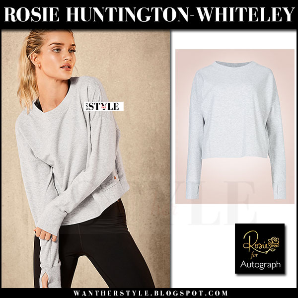 Rosie Huntington-Whiteley in grey sweatshirt and black leggings Rosie for Autograph Active january 2017 what she wore