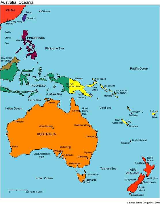 map of australia oceania