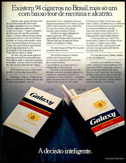 propaganda cigarros Galaxy - 1978; propaganda anos 70; história decada de 70; reclame anos 70; propaganda cigarros anos 70; Brazil in the 70s; Oswaldo Hernandez;