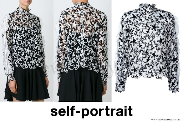Crown Princess mette-Marit wore SELF-PORTRAIT Floral Lace Blouse