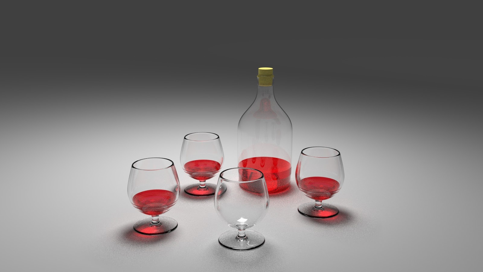 Free 3D Botle & Glass Wine .blend file