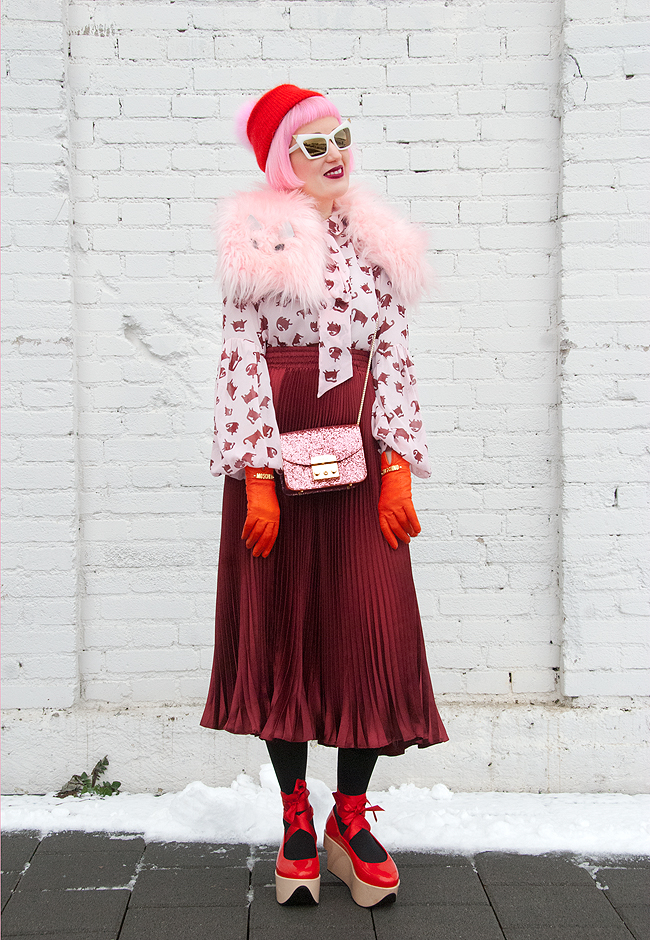 blogger look, winter outfit, pink and burgundy