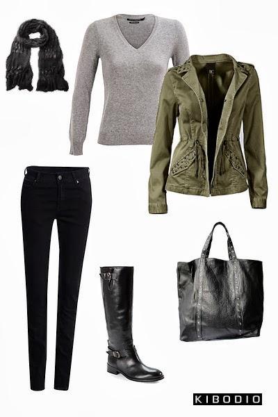 Veste femme kaki et jean noir
