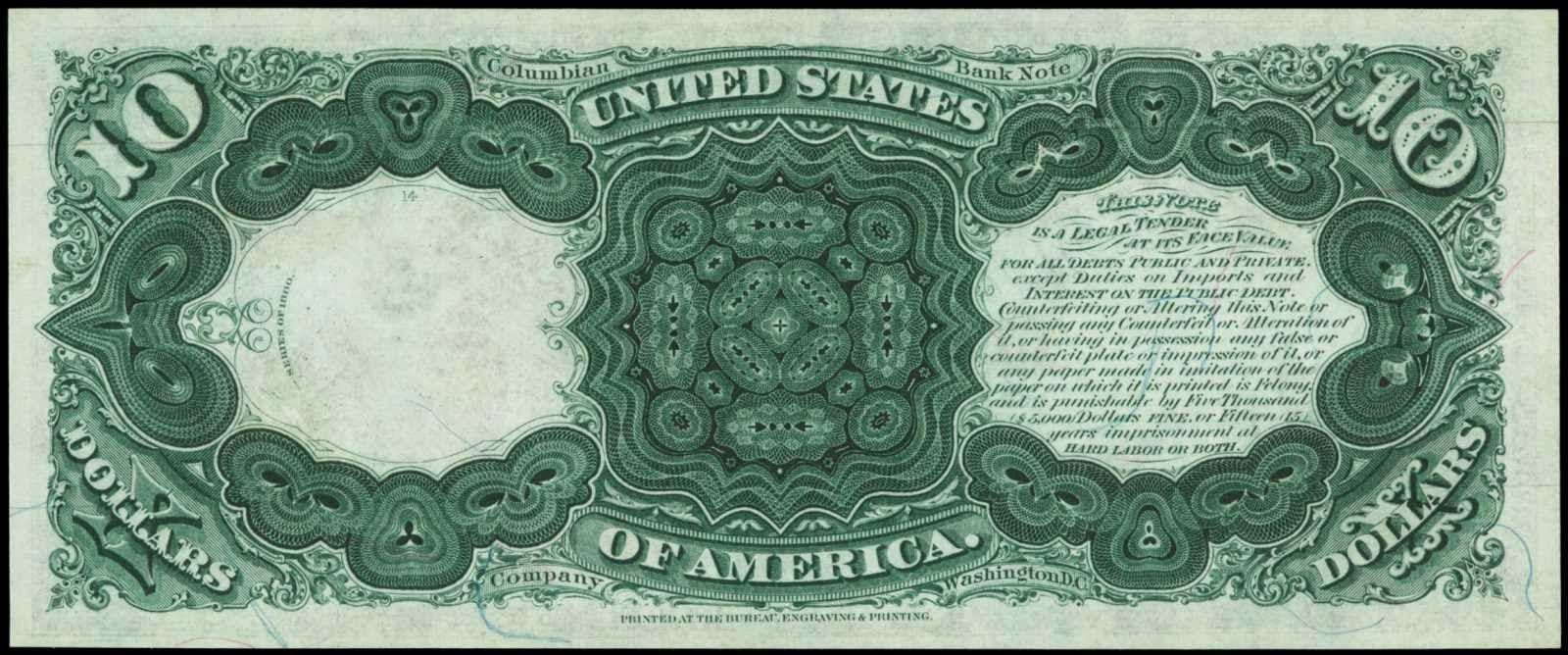 1880 10 Dollars Legal Tender Note