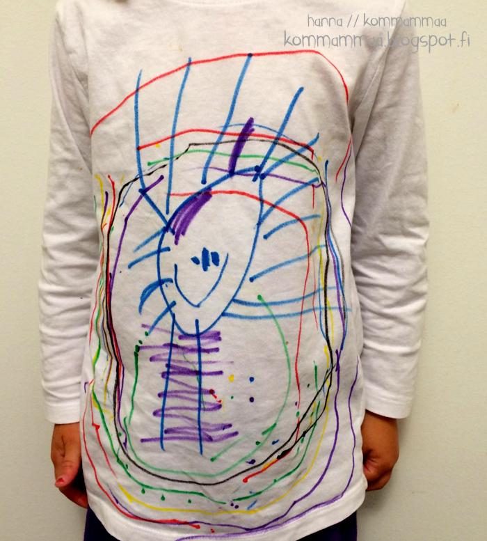 lapsi piirtää valkoinen t-paita hm kangastussit ikea selfie kommammaa hanna