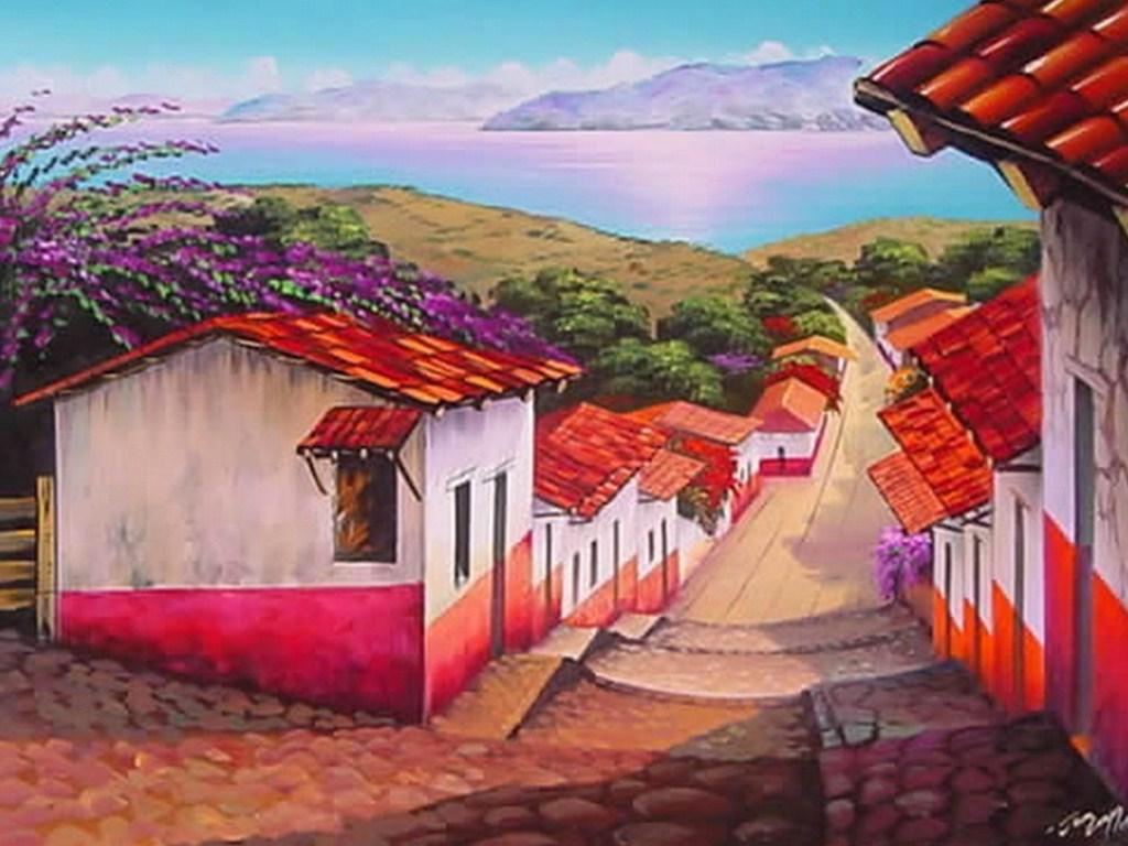 Cuadros pinturas oleos paisajes mexicanos pintados en leo for Cuadros mexicanos rusticos