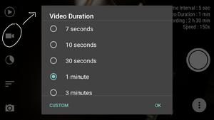 Setting durasi video ketika sedang membuat timelapse di android