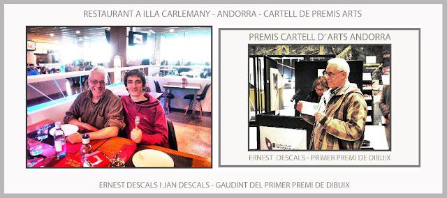 PREMIS-CARTELL-ARTS-ANDORRA-ILLA CARLEMANY-PREMI-DIBUIX-RESTAURANT-ARTISTA-PINTOR-ERNEST DESCALS-JAN DESCALS