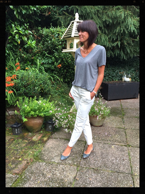My Midlife Fashion, Grey marl t-shirt, zara, cigarette pants, capri trousers, ballet pumps
