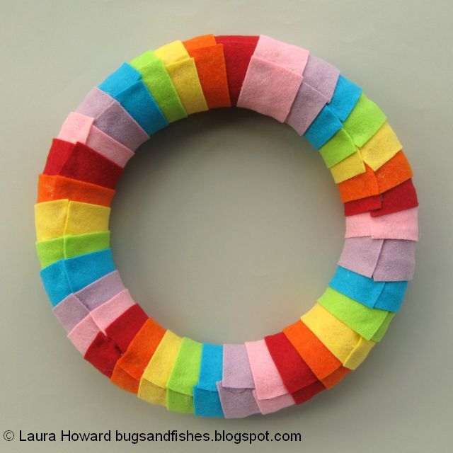 back of the rainbow wreath