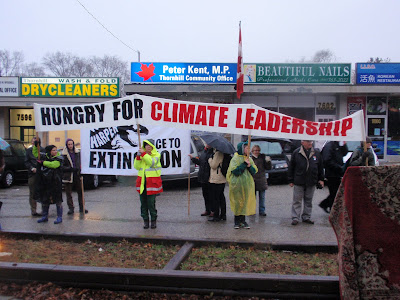 Hungry for Climate Leadership, December 21 - Winter Solstice, at Peter Kent's constituency office in Toronto.