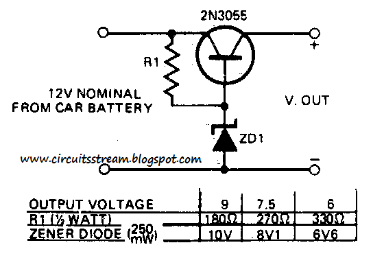 build a 12v to 9 or 6 v converter circuit diagram