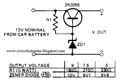 12V to 9 or 6 v Converter Circuit Diagram