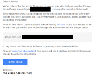 Cara Mengatasi Publisher ID Misssing From Ads.txt Files Adsense