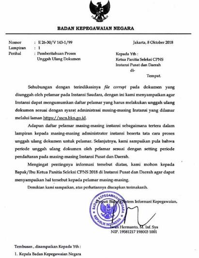 GAMBAR SURAT Pemberitahuan Unggah Ulang Dokumen di sscn.bkn.go.id